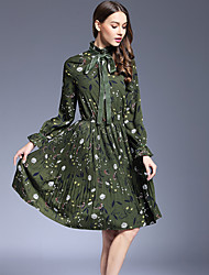 Women's Going out Party/Cocktail Street chic Chiffon Swing Dress Floral Bow Pleated Turtleneck High Waist Polyester Blue /Green