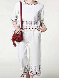 Chandail Pantalon Costumes Femme,Géométrique Sortie Décontracté / Quotidien Vacances Vintage simple Mignon Sangle Eté Manche 3/4Col