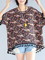 Damen Druck Einfach Lässig/Alltäglich T-shirt,Rundhalsausschnitt Frühling ¾-Arm Braun Baumwolle Acryl Dünn