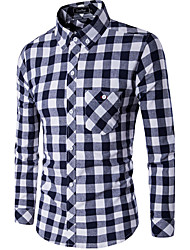 Men's Casual/Daily Simple Spring Fall Shirt,Plaid Shirt Collar Long Sleeves Cotton