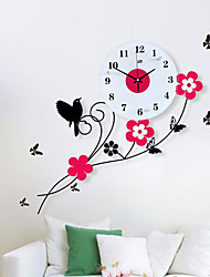 Pastoral Birds Flowers Mute Quartz Bedroom Child Watch Large Wall Clock Horloge Murale Reloj de Pared Wanduhr