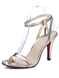 Women's Sandals Summer Club Shoes Satin Patent Leather Party & Evening Dress Casual Stiletto Heel Buckle Black Red Silver Gold Other