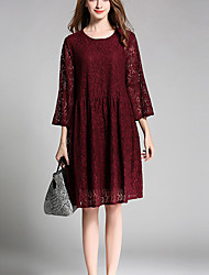 Women's Lace Plus Size Going out Holiday Sexy Vintage Simple Loose Lace Dress,Jacquard Lace Cut Out Round Neck Knee-length ¾ SleeveFlare