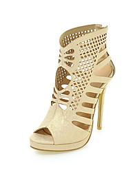 Damen-Sandalen-Lässig-Kunstleder-Stöckelabsatz-Club-Schuhe-Grün Weiß Gold