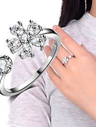 Flower Ring Wedding Party Special Occasion Daily Casual Jewelry Alloy Cubic Zirconia Ring Open Midi Rings Band Rings 1pc Silver