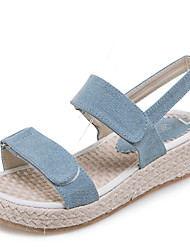 Women's Sandals Spring Summer Fall Denim Office & Career Dress Casual Flat Heel Navy Blue Light Blue