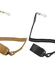 Adjustable Sling Tactical Pistol Hand Gun Secure Elastic Lanyard Spring Sling Rope With Magic Tape Belt Hunting Hanging Buckle 1PC