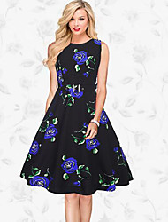 Women's Formal Vintage Swing Dress,Print Round Neck Knee-length Sleeveless Polyester Blue Red Purple Spring Summer Mid Rise Micro-elastic