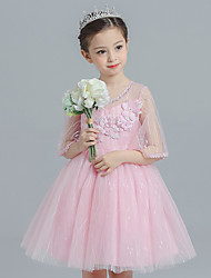Ball Gown Knee-length Flower Girl Dress - Cotton Satin Tulle Half Sleeve Jewel with Flower(s) Lace