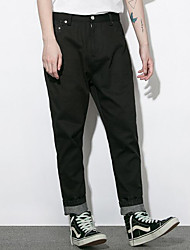 Wen's Skinny Business PantsGoing out Street chic Solid Mid Rise Zipper Drawstring Cotton Micro-elastic Fall