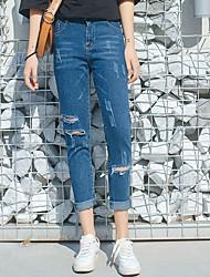 реальный выстрел! место! корея новое колено отверстие шириной песня halun девять очков джинсы нищий штаны