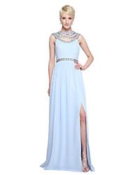 2017 Lanting Bride® Floor-length Chiffon Furcal Bridesmaid Dress - A-line Jewel with Beading Pleats