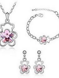 Schmuck 1 Halskette 1 Paar Ohrringe 1 Armreif Kristall Party Aleación 1 Set Damen Rot Grün Rosa Blau Regency Hochzeitsgeschenke