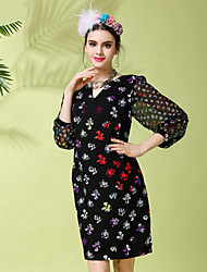Women Casual Vintage Elegant Fashion V-Neck Butterfly Print Patchwork 3/4 Sleeve Plus Size Knee Length Dress