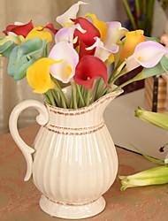 1 Ramo Couro Ecológico Lírios Flor de Mesa Flores artificiais 38*4*4