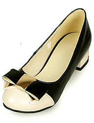 Women's Heels Spring Summer Other Leatherette Office & Career Dress Casual Low Heel Bowknot Black Beige Other