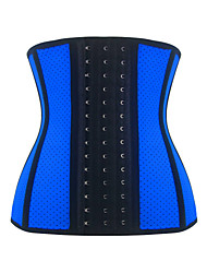 Burvogue Women's Hole Latex 9 Steel Boned Waist Training 3 Hooks Corset Body Shaperwear