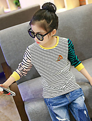 Girl's Fashion Going out Casual/Daily Holiday Stripes Patchwork Tee Spring/Fall Children Cotton Long Sleeve Shirt Blouse