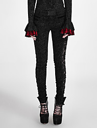 PUNK RAVE K-246Women's Slim Chinos PantsCasual/Daily Party/Cocktail Punk & Gothic Solid Low Rise Drawstring Cotton Polyester Spandex Micro-elastic