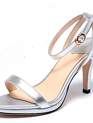 Women's Heels Spring Summer Fall Other Cowhide Office & Career Party & Evening Dress Stiletto Heel Buckle Gold Sliver Dark Grey
