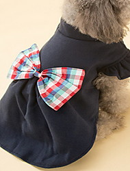 Dog Coat Dog Clothes Winter Bowknot Cute Dark Blue