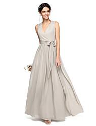 A-Line V-neck Floor Length Chiffon Bridesmaid Dress with Bow(s) Sash / Ribbon by LAN TING BRIDE®