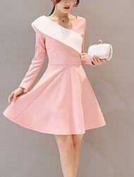 Damen A-Linie Skater Kleid-Ausgehen Lässig/Alltäglich Street Schick Gestreift Patchwork V-Ausschnitt Übers Knie Langarm Rosa Baumwolle