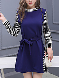 Women's Going out Casual/Daily Holiday Simple Cute Street chic Sheath Dress,Striped Round Neck Above Knee Long Sleeve Others BlueAll