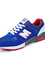 Men's Athletic Shoes Spring Fall Comfort PU Outdoor Flat Heel Lace-up Black Royal Blue Navy Blue Walking
