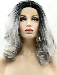 Ombre T1B/Grey Color Synthetic Lace Front Wig Loose Wave Hair Heat Resistant Synthetic Fiber Hair Lace Wigs