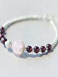 Femme Bracelets de rive Cristal Argent sterling Naturel Simple Style Amour Argent Bijoux 1pc