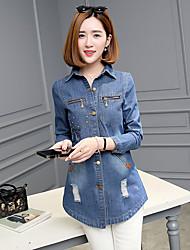 signer le printemps version coréenne de la longue section de diamant trou denim blouses veste coupe-vent marée