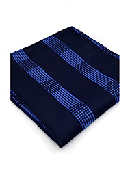 BH22 Men's Pocket Square Navy Blue Checked 100% Silk Business Casual Jacquard Woven For Men