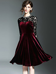 Women's Velvet|Lace Going out Street chic A Line Dress,Patchwork Lace Round Neck Knee-length Long Sleeve Polyester Red Spring Summer Mid Rise