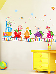 Animal Train Kindergarten School Cartoon Wall Stickers Children's Fruits Train Wall Decals