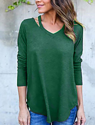 Women's Going out Casual/Daily Sexy Simple All Match Off-The-Shoulder Spring Fall T-shirtSolid One Shoulder Long Sleeve  Medium