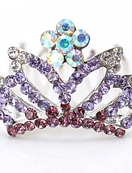 Girls In America And Europe Pop Beautiful Shiny Gradient Diamond Hairpins Crown Comb