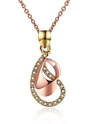 Feminino Colares com Pendentes Zircônia cúbica Forma Geométrica Caído Zircão Rosa Folheado a Ouro imitação de diamante LigaOriginal