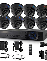 YanSe® 8pcs Dome CCTV Camera AHD DVR Kit 720P IR Security System 1200TVL 3.6mm 632B 1.0MP