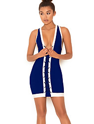 Women's Lace up Going out Party Club Sexy Vintage Street chic A Line Bodycon Sheath Dress,Solid V Neck Mini Above Knee Sleeveless