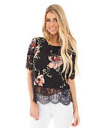 Damen Blumen Anspruchsvoll Lässig/Alltäglich Urlaub T-shirt,Rundhalsausschnitt Frühling Herbst Kurzarm Schwarz Polyester Dünn