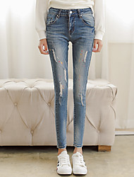 Sign stretch thin pencil jeans female feet pants trousers paint point hole