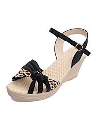 Damen-Sandalen-Lässig-PU-Keilabsatz-Fersenriemen-Schwarz Blau Lila
