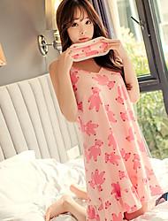 Costumes Vêtement de nuit Femme,Imprimé Fleur-Moyen Polyester Rose