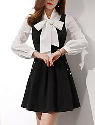 Модель реального выстрел корейская торговый +2017 весной новое кружево рубашка + тонкий тонкий ремень платье костюм