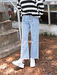 unterzeichnen im Frühjahr 2017 neue Frauen&# 39; s zweireihige hohe Taille breite Bein war dünne Denimhose
