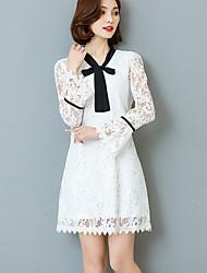 Feminino Rendas Vestido,Para Noite Tamanhos Grandes Moda de Rua Estampa Colorida Decote V Acima do Joelho Manga Longa Branco Preto