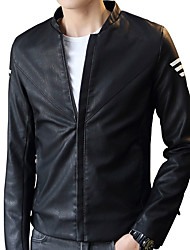 Men's Going out Casual/Daily Work Simple Street chic Chinoiserie Leather Jacket,Solid Striped Stand Long Sleeve Fall WinterWash