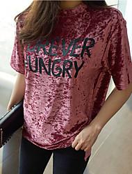 новый летний корея ретро бархат свободные буквы напечатаны футболки