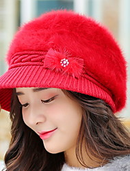 Women Winter Outdoor Warm Bow Rhinestones Rabbit Fur Ear Protection Baseball Hat